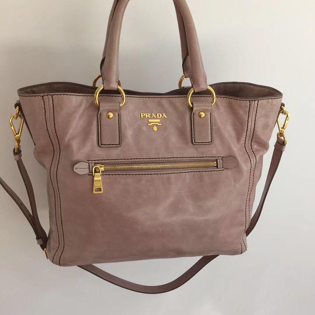 真品Prada 粉膚色 油蠟 兩用側肩背手提包 公事包