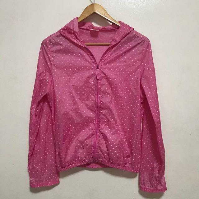 [Preloved] Lightweight Waterproof Pink Jacket Hoodie