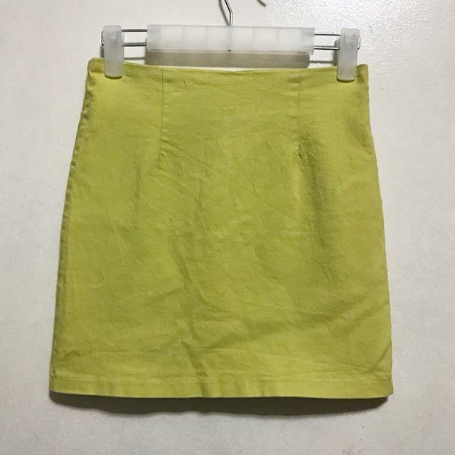 [Preloved] Pastel Yellow Soft Denim Skirt