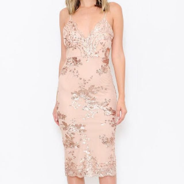Rose gold sequin ball dress