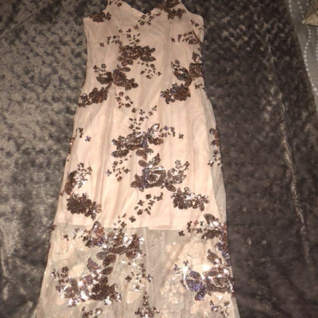 Rose gold sequin ball dress