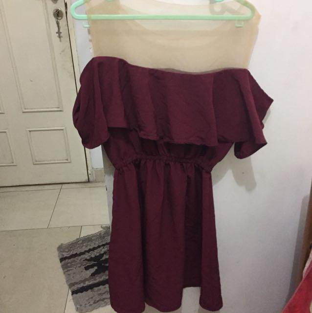 Sabrina maroon dress