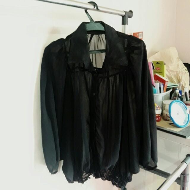 see through black blouse