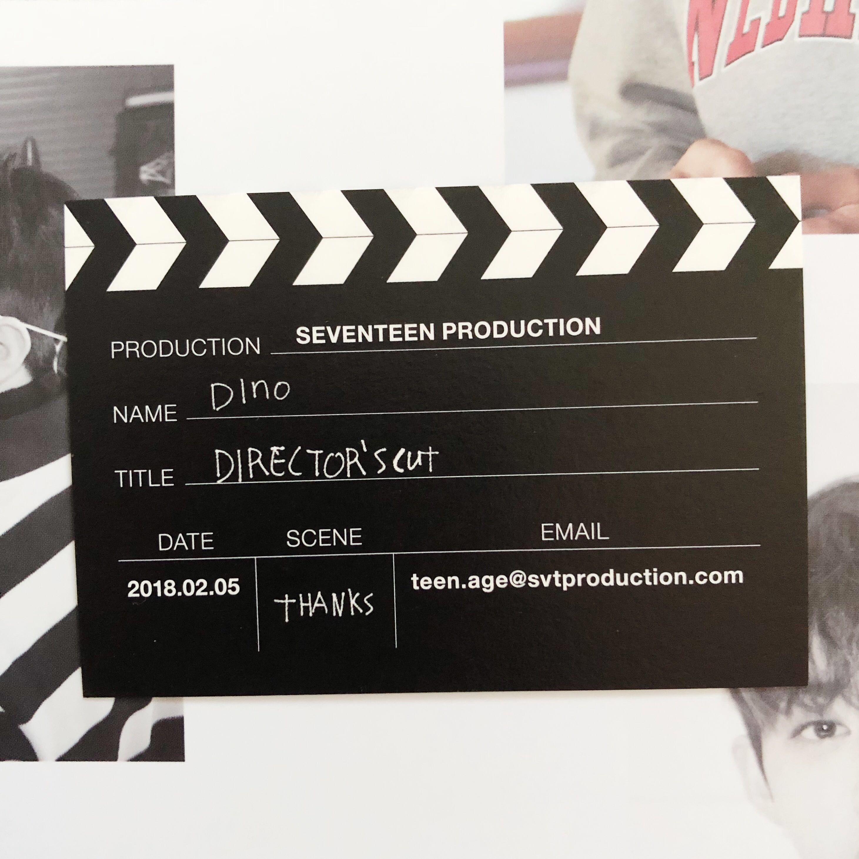 SEVENTEEN DINO SPECIAL ALBUM DIRECTOR\'S CUT BUSINESS CARD, K-Wave ...