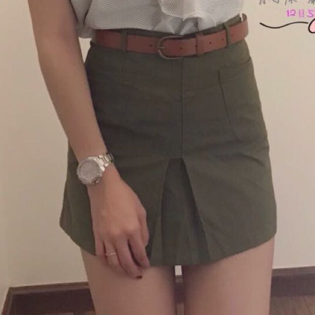 Skirt Pants With Belt