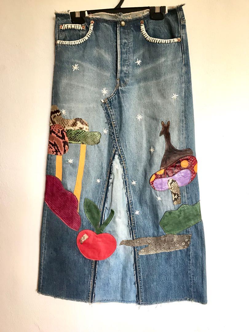 Snakeskin and leather patch work on Levi s vintage denim skirt ... 7584d2b4ec2