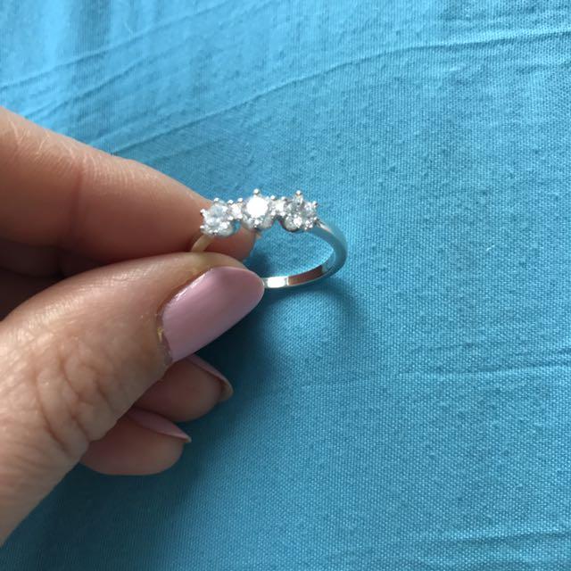 Sterling Silver 3 Stone Diamanté Cz Ring