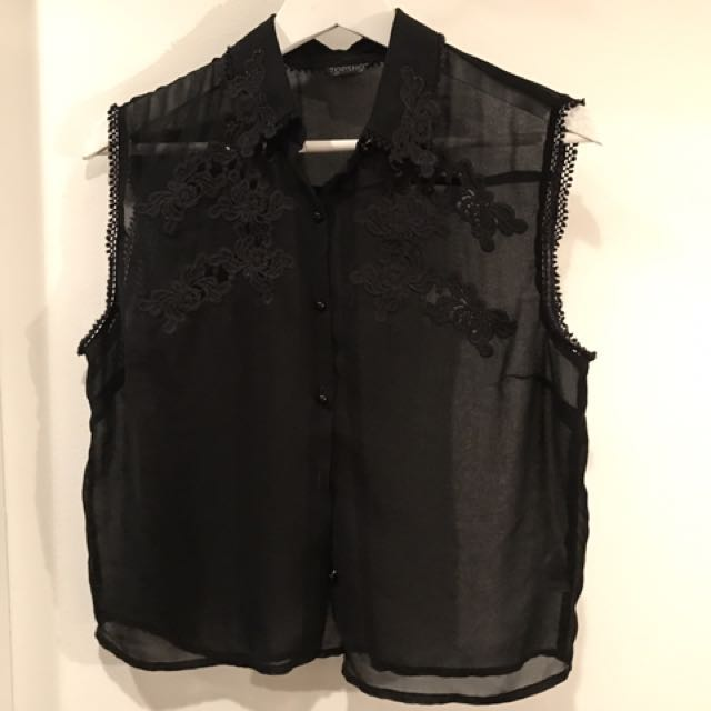 Topshop Sheer-Black Embroidered Button Up Cropped Blouse