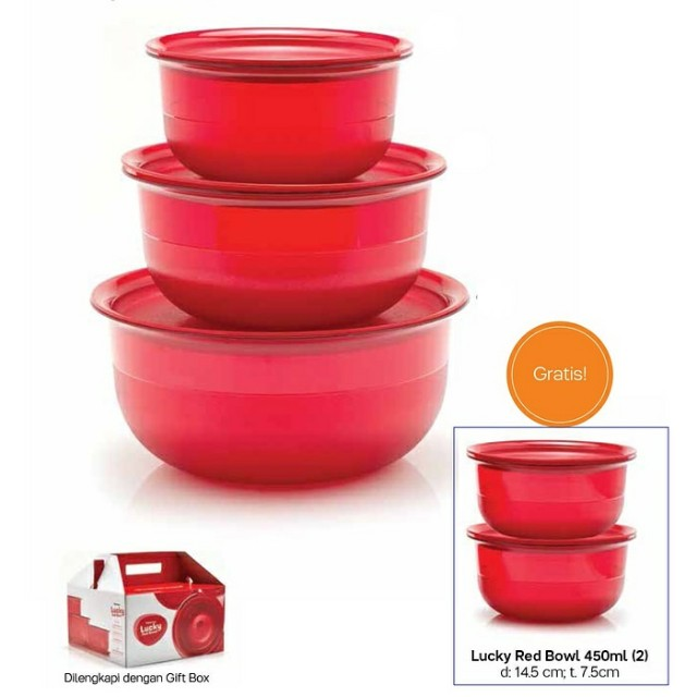 TUPPERWARE Lucky red bowl