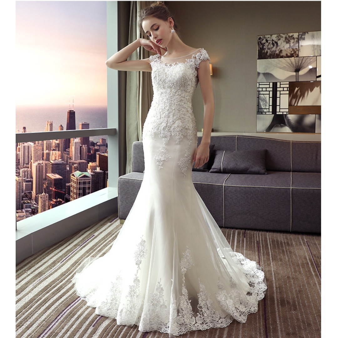 Wedding Collection - Chiffon Round Neck Design Elegant Mermaid Small Tail Wedding Gown