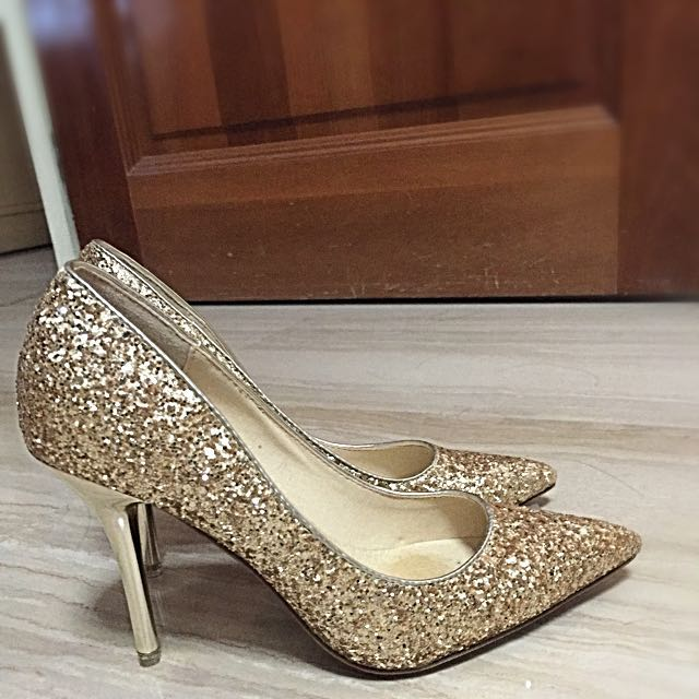 908681e72bc4 Wedding Heels (Gold Glitter With Pointed Heels), Women's Fashion ...
