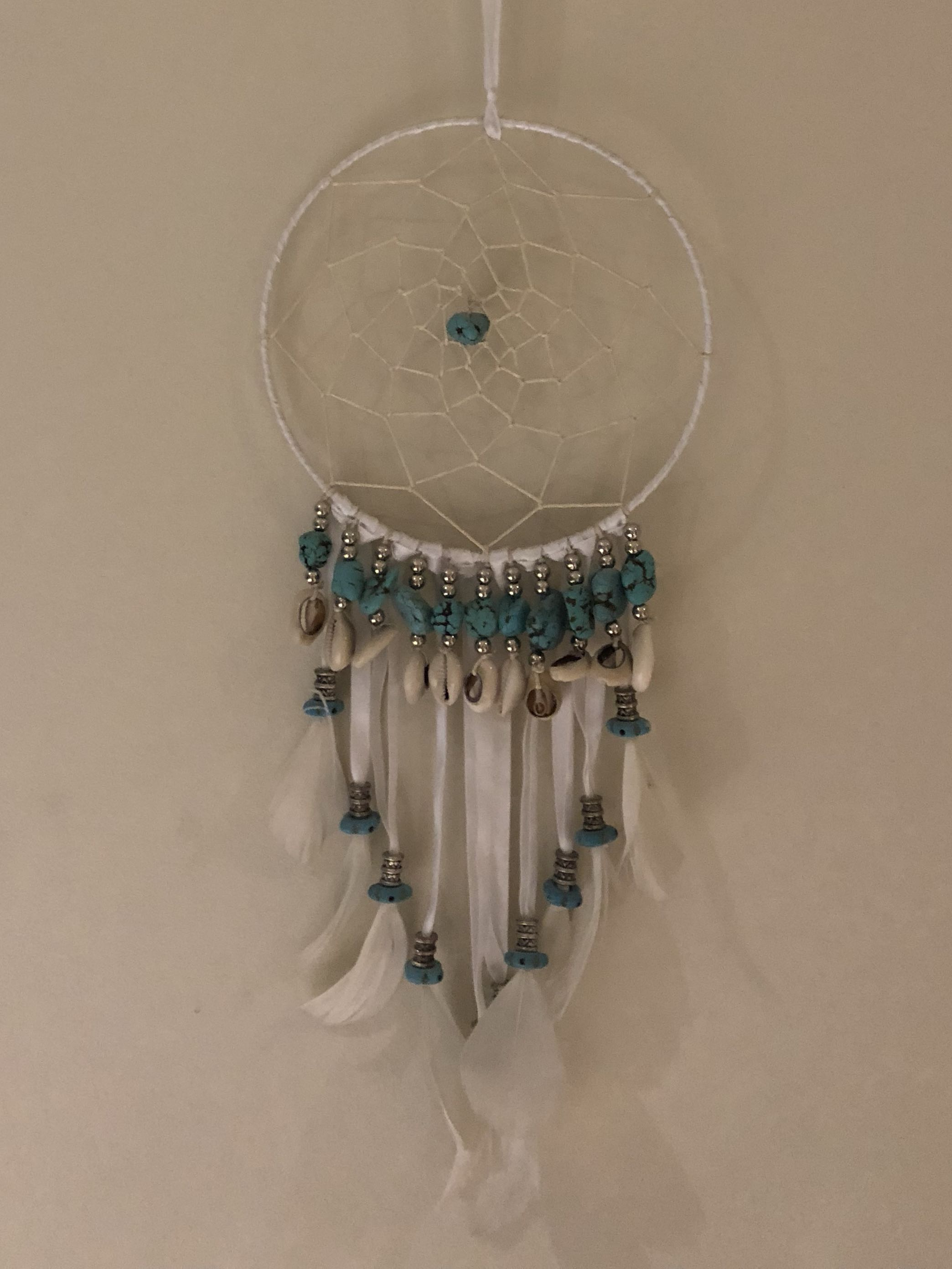 WHITE AND TEAL DREAMCATCHER