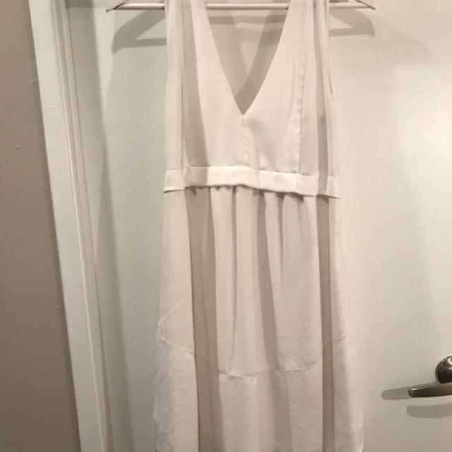 Wilfred White Japanese Silk Babydoll Mini Dress