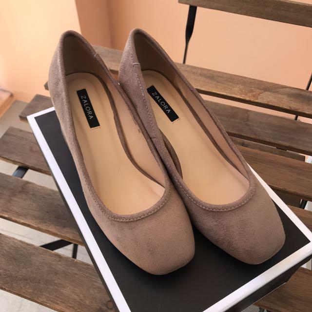 Zalora Brown Chunky heel