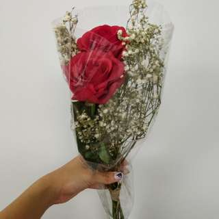 Artificial Rose and dried babys breath
