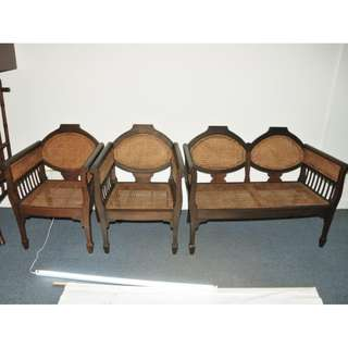 Authentic Burma Teak Wood Antique Colonial Sette Set