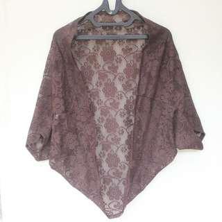 Preloved Brown Lace Cardigan