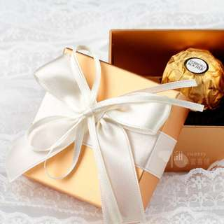 PO Gold Favour Candy Box Collection with Ribbon