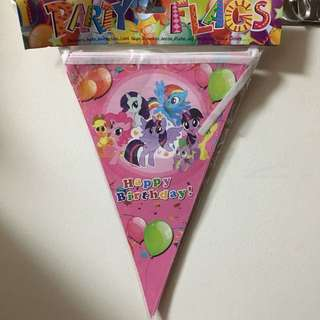 $3 pony triangle happy birthday flag banner bunting