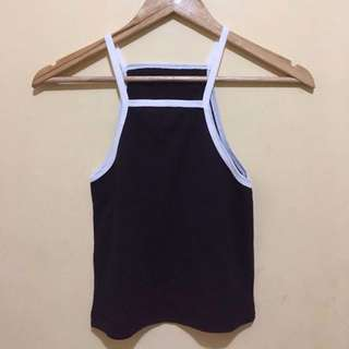 Black and White lining Sleeveless crop top Crop top