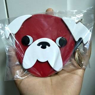 BNIP cotton on red and white dog pug life bag charm/keychain