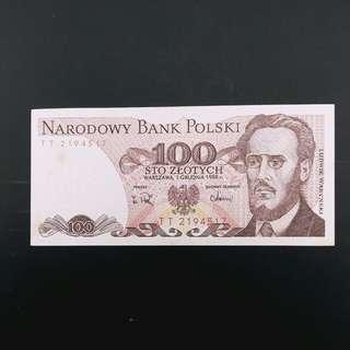 舊版1988年波蘭纸幣(包郵)