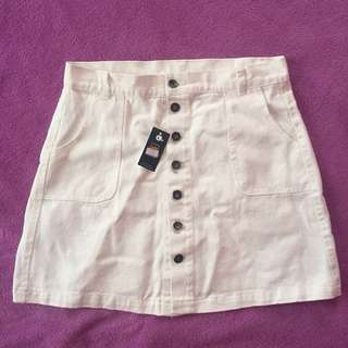 [RESERVED] White denim button down skirt brandnew with tag