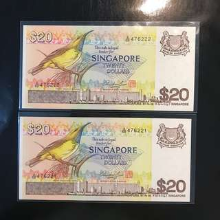 "Yellow Breasted Sunbird 🦅 1979 Singapore 🇸🇬 $20 Bird 🦅 Series, A/69 476221 - 476222, 2 Pcs Running UNC, With Fancy Leopard 🐅 Number ""222"" UNC"