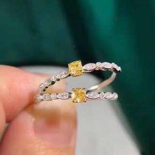 ((已售可訂))可愛fancy yellow黃鑽18k白金鑽石戒指💍100%New情人節禮物