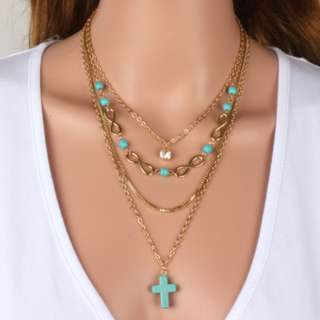 PO - Multi Layer Gold Color Necklace with Blue Stone Cross
