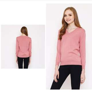SALMON PINK V LONG SLEEVE TOP MIX MAX MIXNMAX