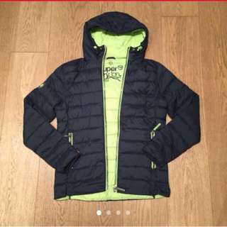 Superdry Navy Blue light weight down coat with green hood