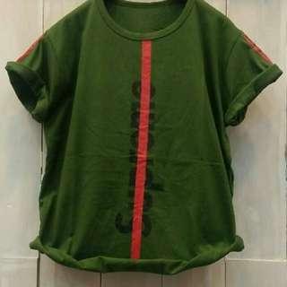 TiaCR kaos oblong sablon supreme list merah green (no barter, no nego)