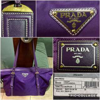 Prada Purple Tessuto Saffian Nylon & Leather BR4253