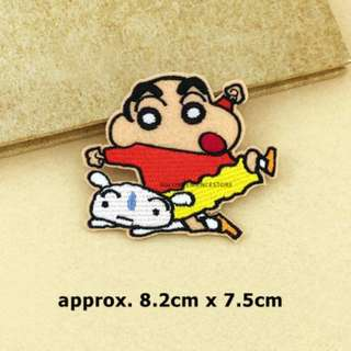 Crayon Shin-Chan & Shiro DIY Fabric Embroidery Iron On Patch Applique Motif Badge Decal