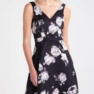 Miss Selfridge Little Black Floral Formal Dress