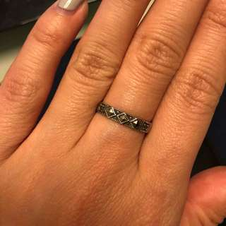 925 Vintage Marcasite Stacking Band size 5