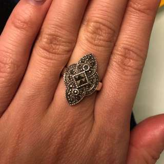 925 Vintage Marcasite Ring size 5