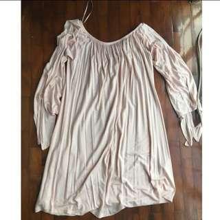 Light Pink Long Sleeved Off Shoulder Cotton On Dress