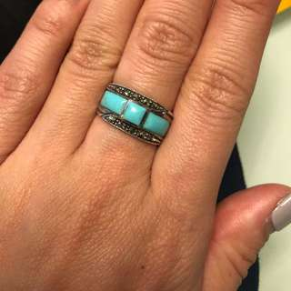 925 and Turquoise Marcasite band size 5
