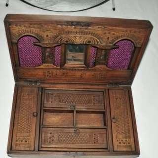 Authentic Burma Teak Wood Antique Jewellery & Make-Up Box