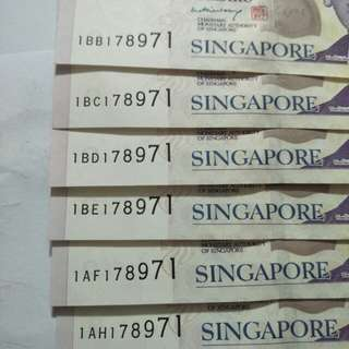 Sg  old paper $2 note 6pc x 9