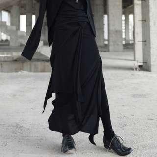 PO - Designer Knotted Irregular Bandage Pencil Knit Long Maxi Skirt