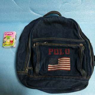 80% new kid or lady Polo vintage denim backpack