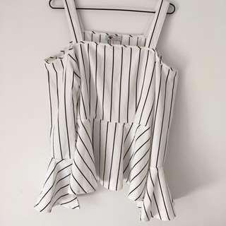 White and black stripy dress top