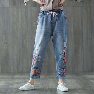 (M~3XL) 2018 spring retro embroidery hundred tower loose old nine points jeans