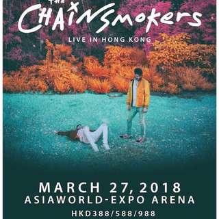 THE CHAINSMOKERS 香港演唱會 2018  3月27日 星期二 超前企號 988 A區站票  588 坐票  388 坐票  有意請pm