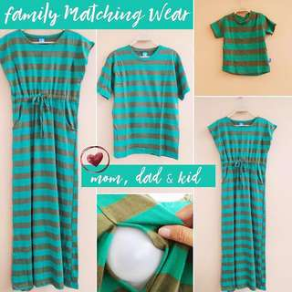 Nursing Maxi Dress with matching Dad and kid set, Turquoise and olive stripes