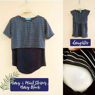 Nursing Top with matching daughter set, Navy and Mint stripes and navy block