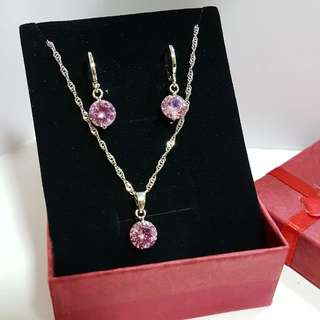 925 Sliver Necklace and Earring Sets New Pink